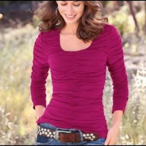 Sundance S Rosalind Magenta Ruched Top Long Sleeve
